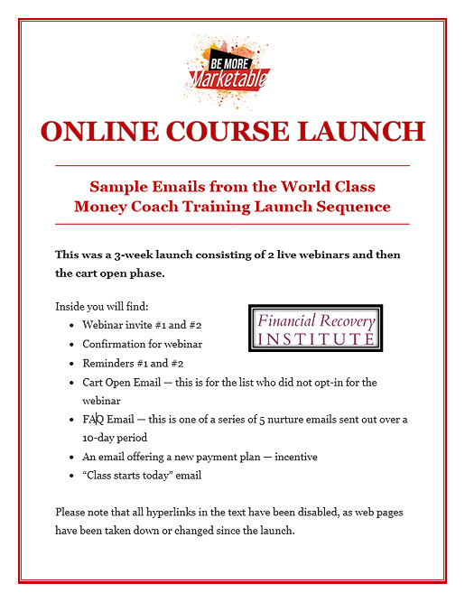 Online Course Launch – Money Coaching Course Emails
